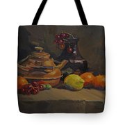 Copper Tea Pot And Fruit Tote Bag