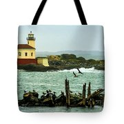 Coquille River Lighthouse And Birds Tote Bag