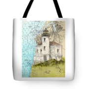 Coquille River Lighthouse Or Nautical Chart Map Art Cathy Peek Tote Bag