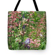 Coral Bells And Irises Tote Bag
