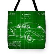 Cord Automobile Patent 1934 - Green Tote Bag