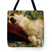 Corgi Asleep On The Pillow Tote Bag
