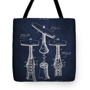 Corkscrew Patent Drawing From 1883 Tote Bag