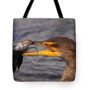 Cormorant Catching Catfish Tote Bag
