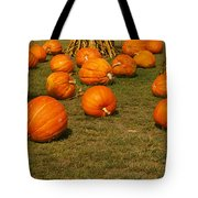 Corn Plants With Pumpkins In A Field Tote Bag