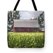 Corn With A Red Barn  Tote Bag