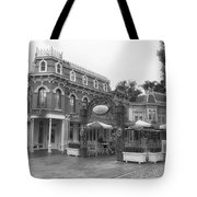 Corner Cafe Main Street Disneyland Bw Tote Bag