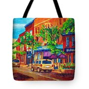 Corona Theatre Presents The Burgundy Lion Rue Notre Dame Montreal Street Scene By Carole Spandau Tote Bag