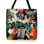 Coronation Of The Virgin With Saints Luke Dominic And John The Evangelist Tote Bag