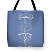 Corset Patent From 1873 - Light Blue Tote Bag