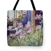 Cosmos At The Coffee Shoppe Tote Bag