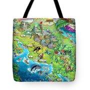 Costa Rica Map Illustration Tote Bag