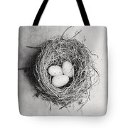 Cottage Bird's Nest In Black And White Tote Bag