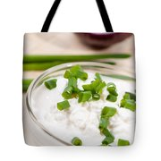 Glass Bowl Of Cottage Cheese With Chives  Tote Bag