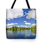 Cottage Lake With Diving Platform And Dock Tote Bag by Elena Elisseeva