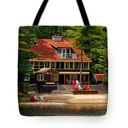 Cottage On A Lake Tote Bag