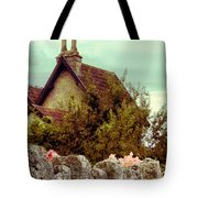 Cottage Seen Over A Wall Tote Bag