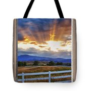 Country Beams Of Light Pealing Picture Window Frame Vie Tote Bag