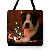 Country Christmas Puppy Tote Bag