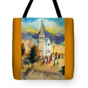 Country Church At Sunset Tote Bag