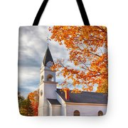 Country Church Under Fall Colors Tote Bag