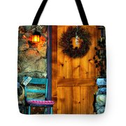 Country Cottage Door At Christmas Tote Bag