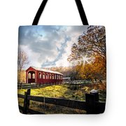 Country Covered Bridge Tote Bag by Debra and Dave Vanderlaan