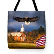 country Eagle Church Flag Patriotic Tote Bag