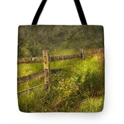 Country - Fence - County Border  Tote Bag by Mike Savad