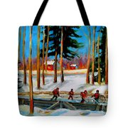 Country Hockey Rink Tote Bag