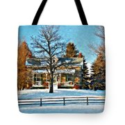 Country Home Watercolor Tote Bag