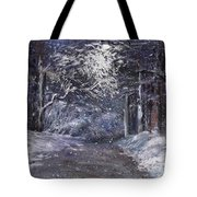 Country Road On A Wintery Night Tote Bag