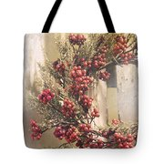 Country Wreath With Red Berries Tote Bag