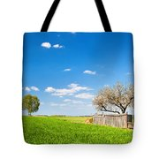 Countryside Landscape During Spring With Solitary Trees And Fence Tote Bag