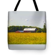 Countryside Landscape With Red Barns Tote Bag
