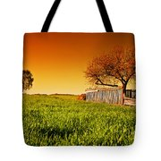 Countryside Orchard Landscape At Sunset. Spring Time Tote Bag