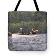 Couple Boating On Lake, Maine, Usa Tote Bag