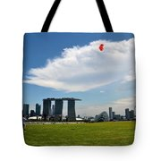 Couple Flies Kite Marina Bay Sands Singapore Tote Bag