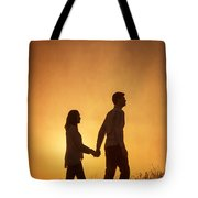 Couple Holding Hands At Sunset Tote Bag