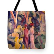 Couple On The Forest Track Tote Bag