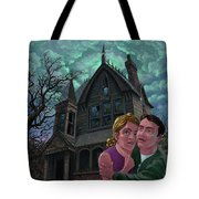 Couple Outside Haunted House Tote Bag