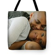 Couple Snuggles Tote Bag by Darren Greenwood