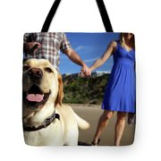 Couple Take Their Dogs For A Walk Tote Bag