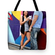 Couple Talking Tote Bag
