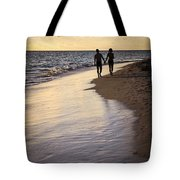 Couple Walking On A Beach Tote Bag