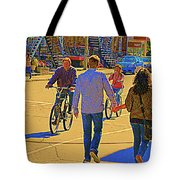 Couples Summer In The City Walking Biking Strolling With Baby Carriage Art Of Montreal Street Scene Tote Bag