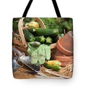 Courgette Basket With Garden Tools Tote Bag