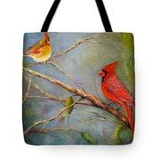 Courting Cardinals, Birds Tote Bag