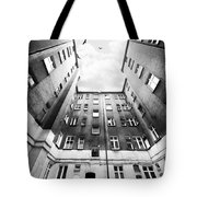 Courtyard In Black And White Tote Bag
