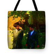 Covenant Conversation Two Men Of God Hasidic Community Montreal City Scene Rabbinical Art Carole Spa Tote Bag
